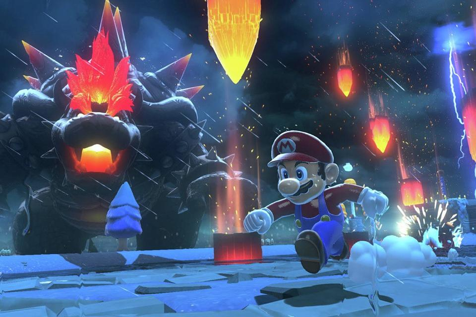 Mario running with a huge villainous Bowser in the background.
