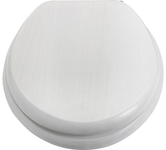 Buy Collection Solid Wood Slow Close Toilet Seat White Washed At - Soft close wooden toilet seat