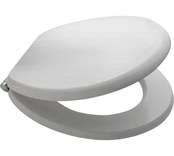 Buy Collection Solid Wood Slow Close Toilet Seat White Washed at