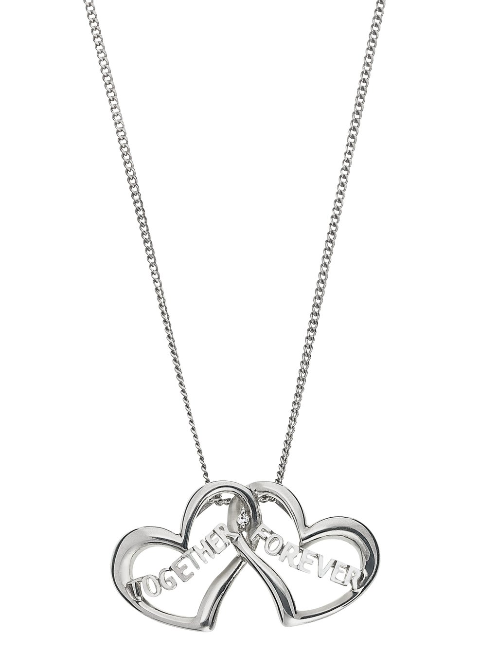 Image of Sterling Silver - CZ 'Together Forever' Hearts Pendant.