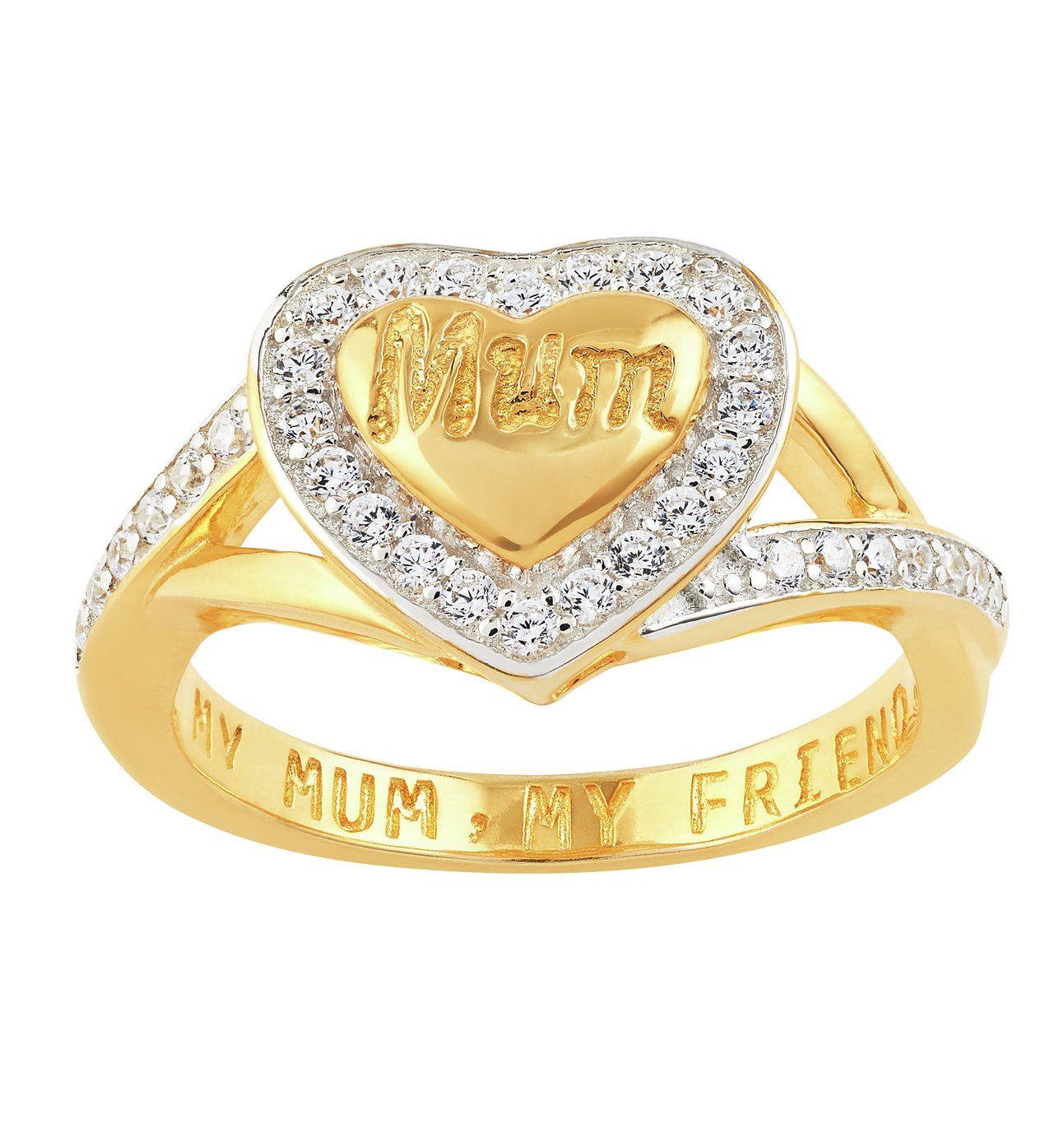 Buy Moon & Back 9ct Gold Plated Silver My Mum My Friend Ring at