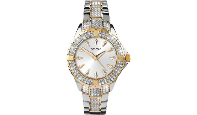 Seksy Intense Ladies Stone Set Two Tone Bracelet Watch