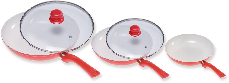 Image of Ceramicore 3 Pc Ceramic Non-Stick Aluminium Pan Set and Lids