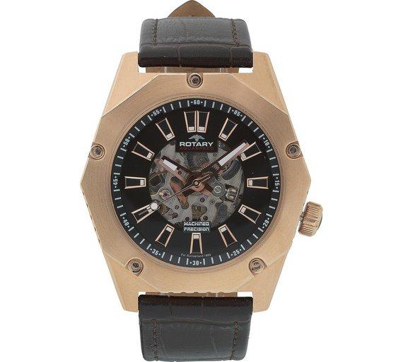 buy rotary men s fusion brown strap skeleton watch at argos co uk rotary men s fusion brown strap skeleton watch143 7847