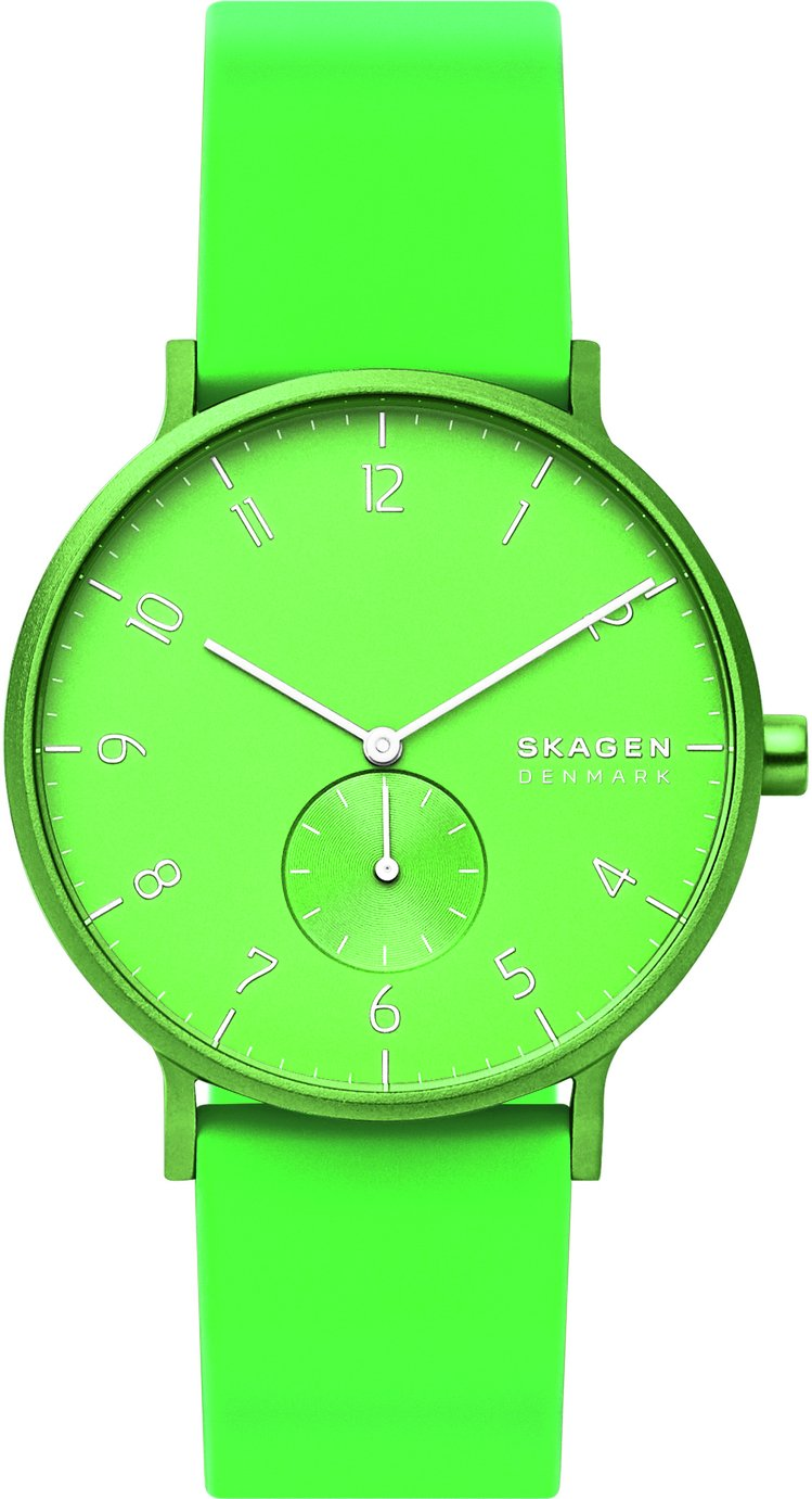 Skagen Kulor Neon Green Silicone Strap Watch