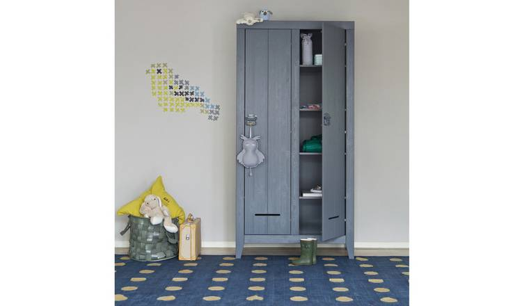 Woood Kluis 2 Door Shelf Wardrobe - Concrete Grey