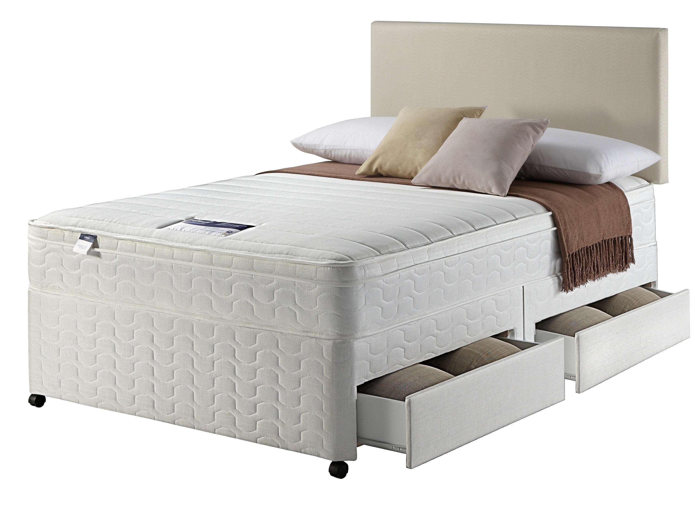 Silentnight travis miracoil superking divan bed 2 for 4 drawer divan