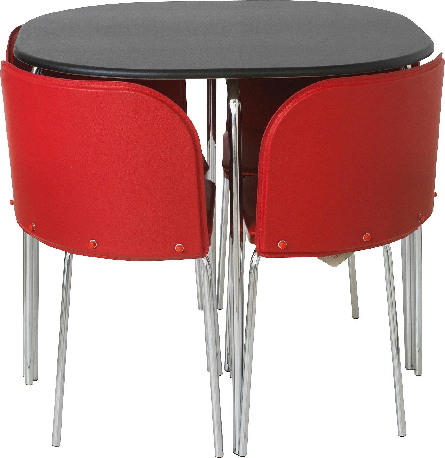 buy hygena amparo black dining table & 4 chairs - red | dining sets