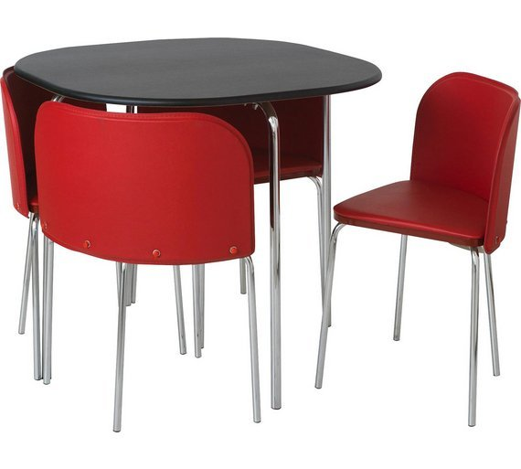 Buy hygena amparo black dining table 4 chairs red at for Red dining room table and chairs