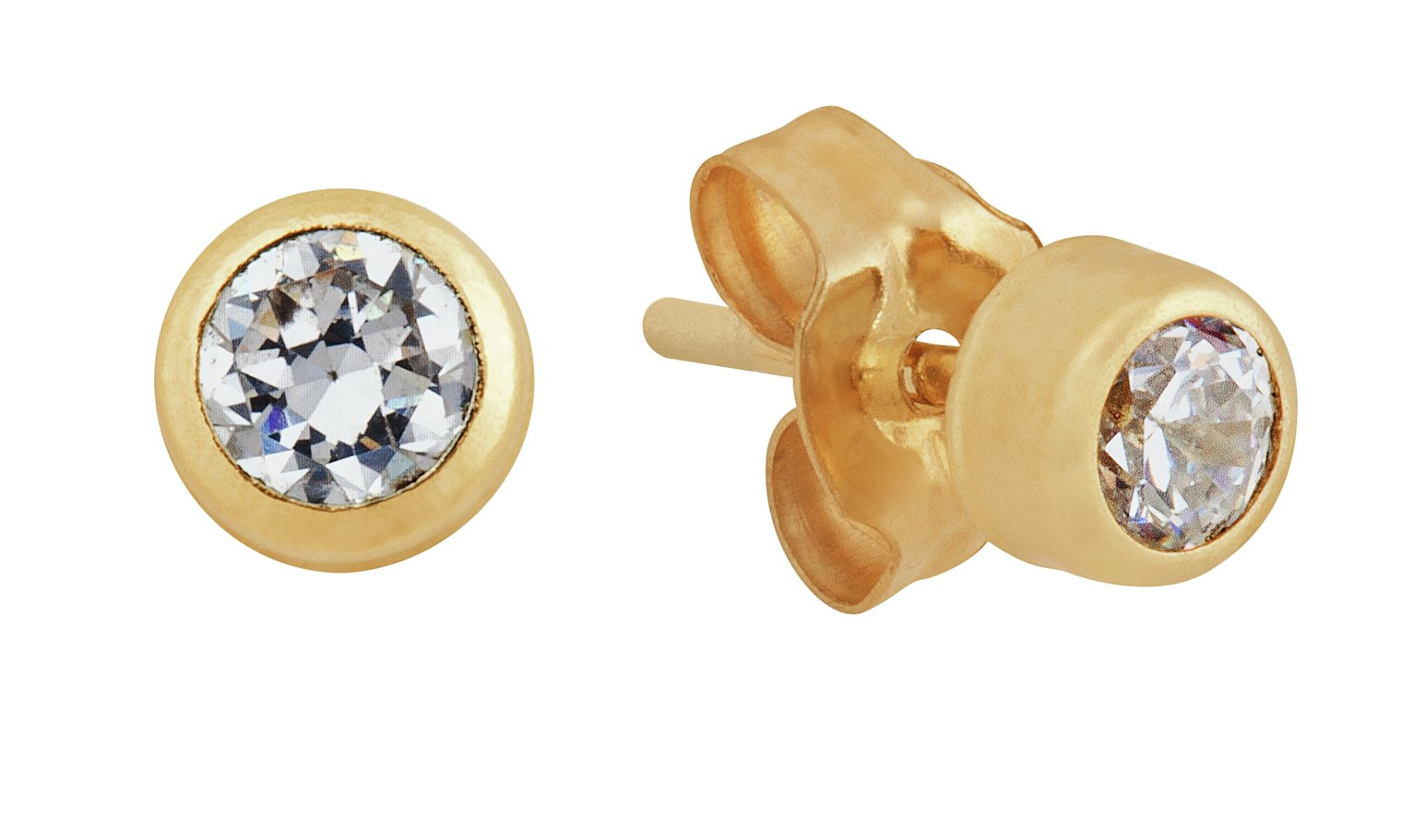 Revere Round CZ 9ct Yellow Gold Rubover Stud Earrings