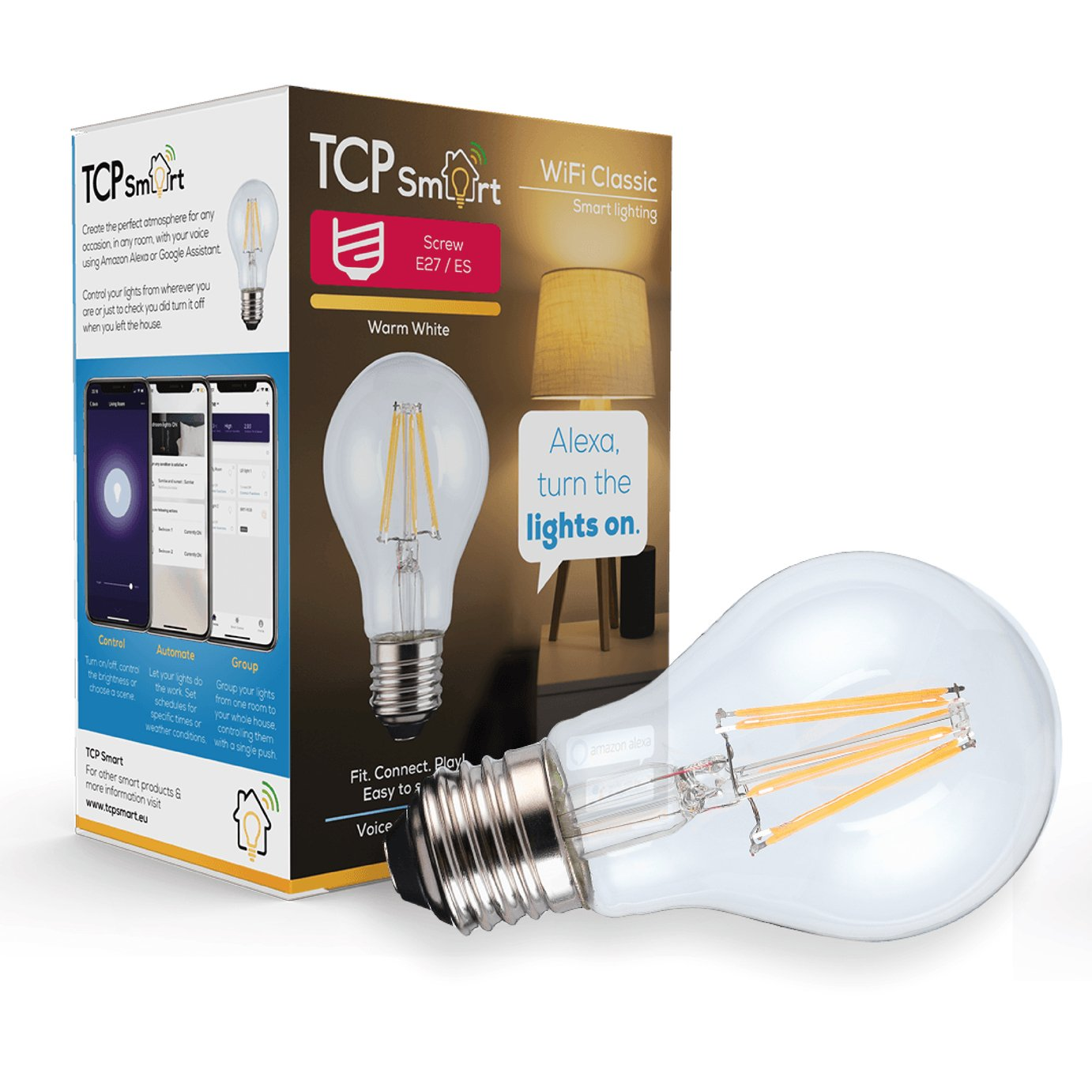 TCP E27 Smart Wi-Fi LED Filament Classic Bulb