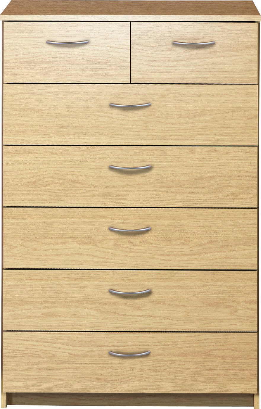 Argos Home Cheval 5+2 Drawer Chest - Oak Effect