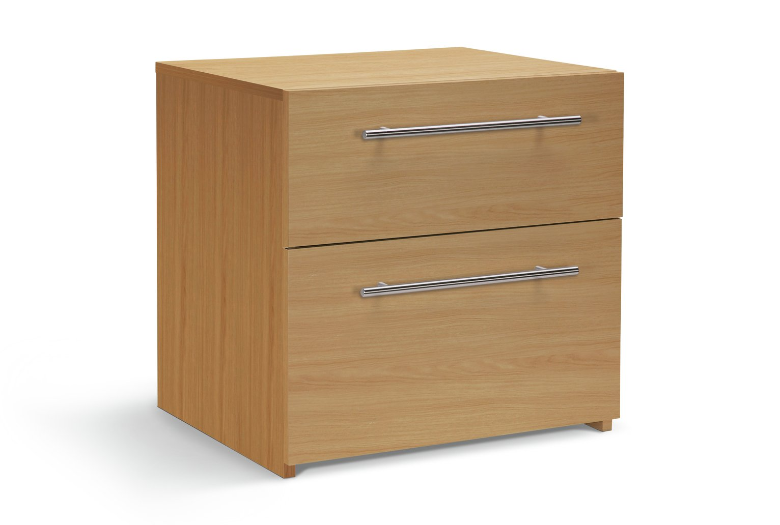 Hygena Atlas 2 Drawer Bedside Chest - Oak Effect