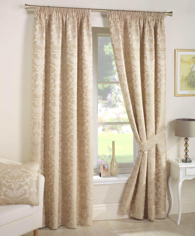 Beaded door curtains argos - Curtina Crompton Lined Curtains 168x183cm Natural