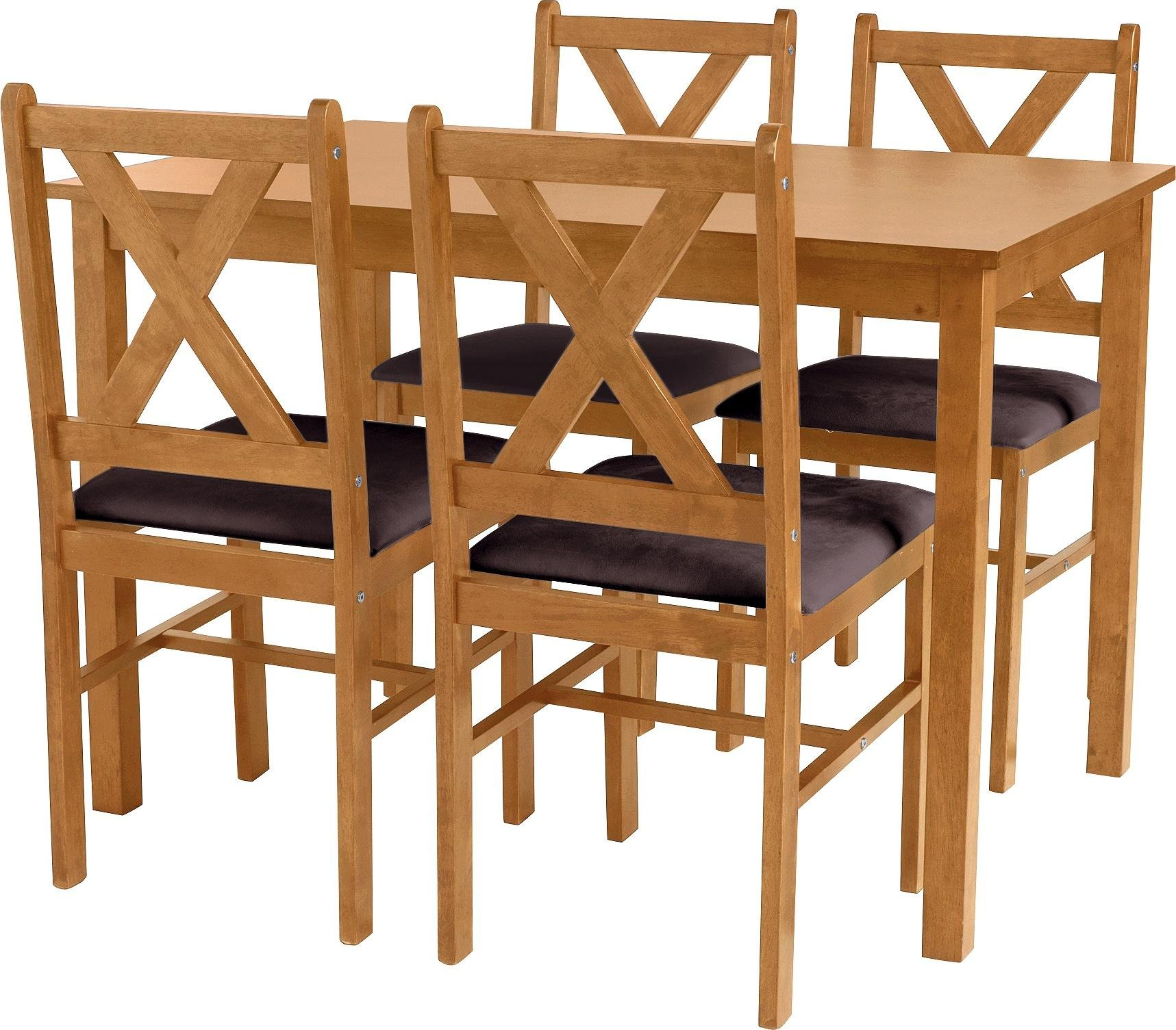 Image of HOME Ava Solid Oak Dining Table & 4 Chairs - Chocolate
