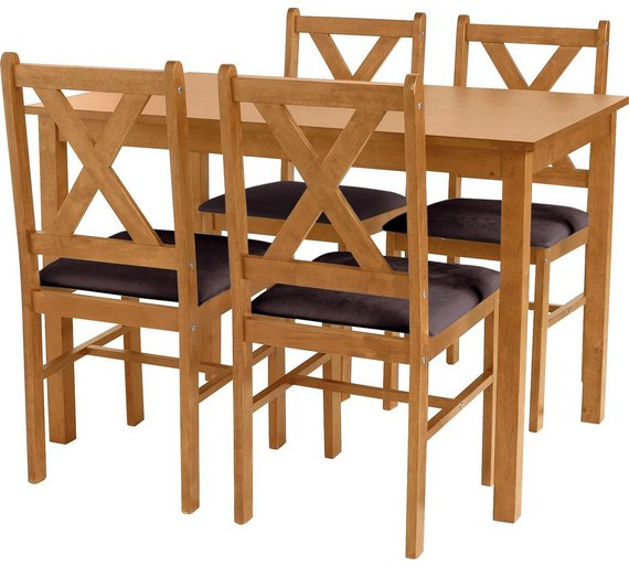 HOME Ava Solid Oak Dining Table 4 Chairs