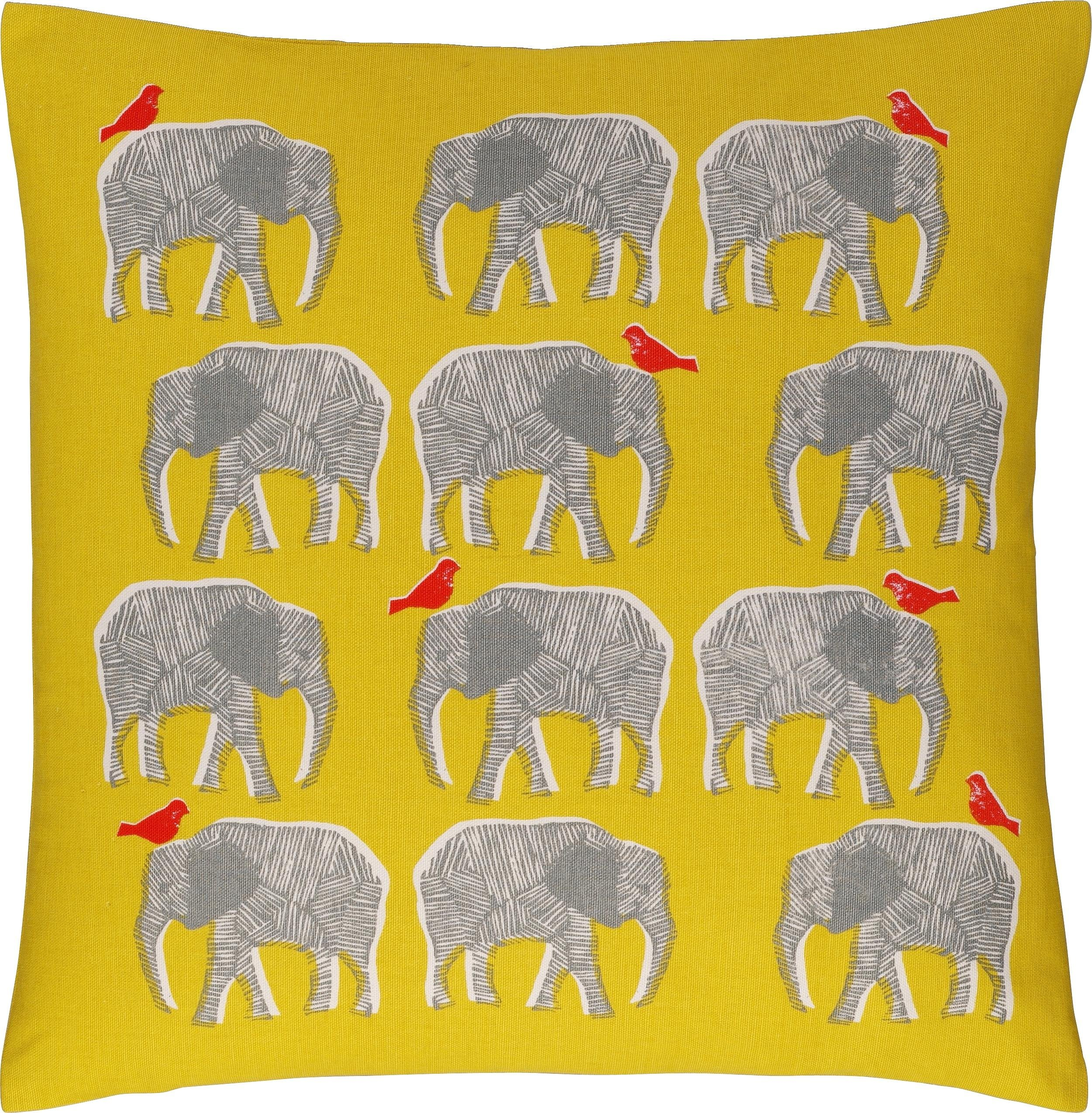 Habitat Topsy Elephant Pattern Cushion - Yellow