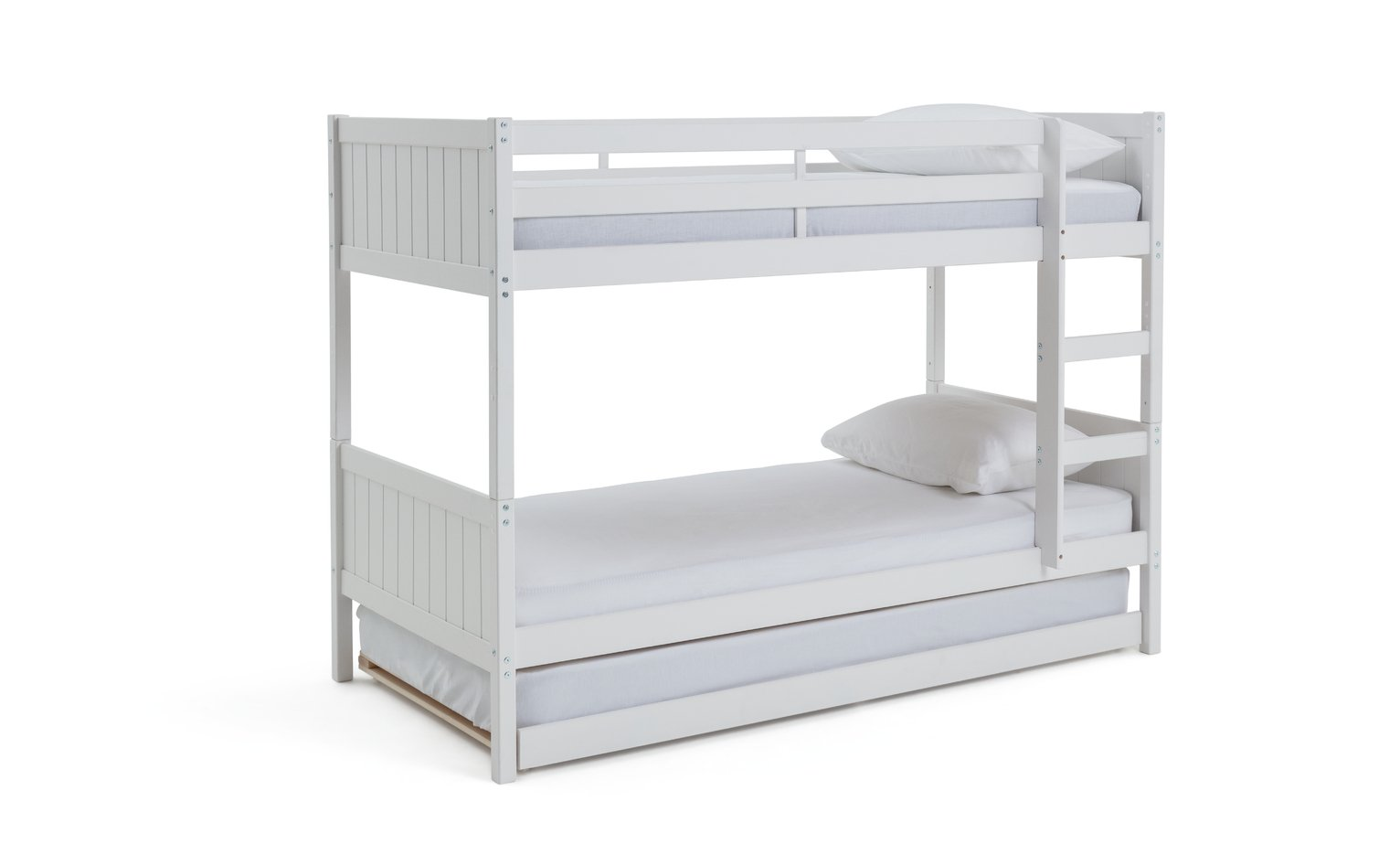 Detachable single bunk bed frame with trundle white for White bunk bed frame