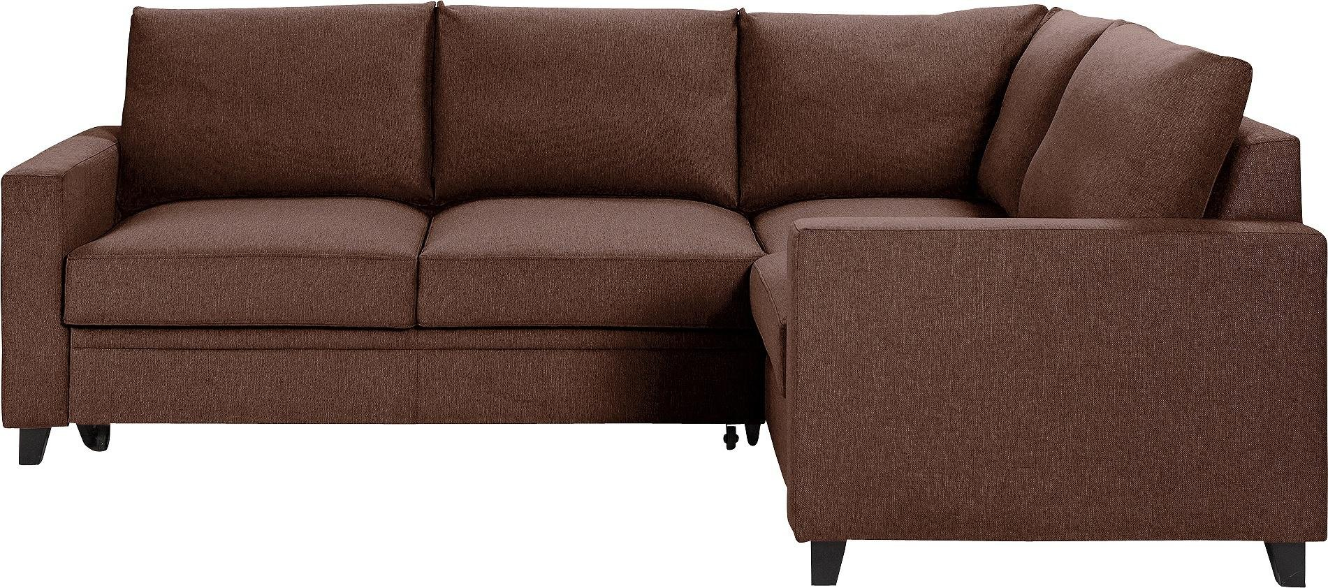 Hygena Seattle Fabric Right Hand Corner Sofa Bed - Brown