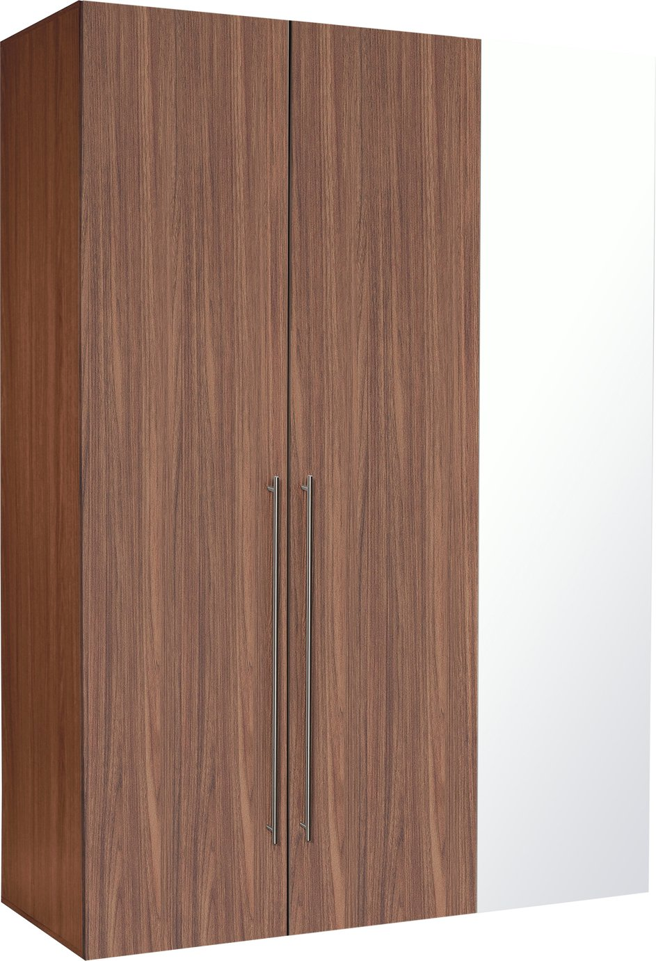 Hygena Atlas 3 Door Mirrored Tall Wardrobe - Walnut Effect