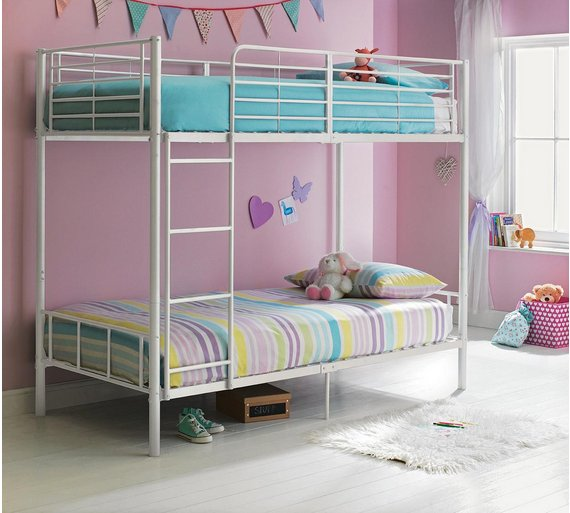 Buy HOME Maddison Single Bunk Bed Frame White At Argoscouk - Single bunk beds