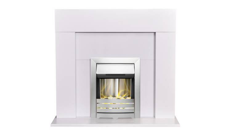 Adam Miami Electric Fire Suite with Helios Inset - White