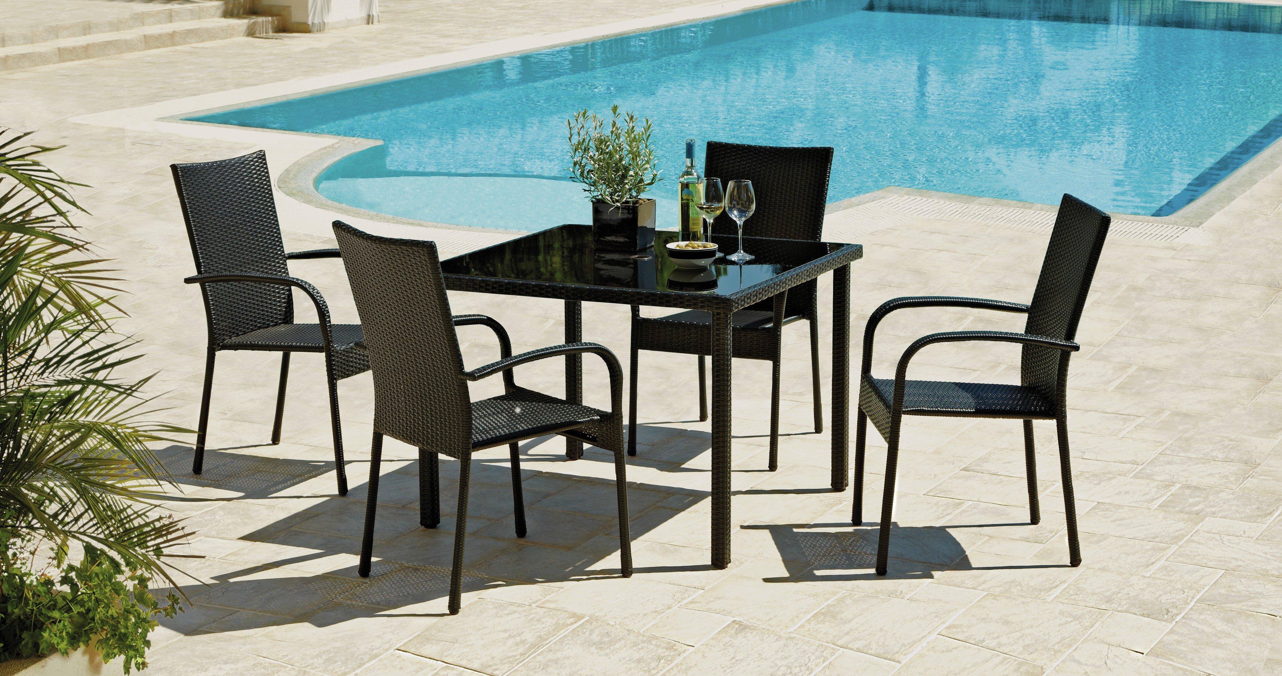 Buy Lima Rattan Effect 4 Seater Patio Furniture Dining Set Black