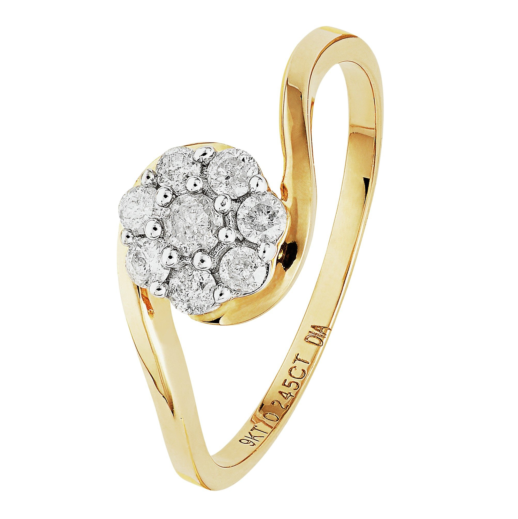 9 Carat Gold - 025 Carat tw Diamond - Cluster Twist Ring