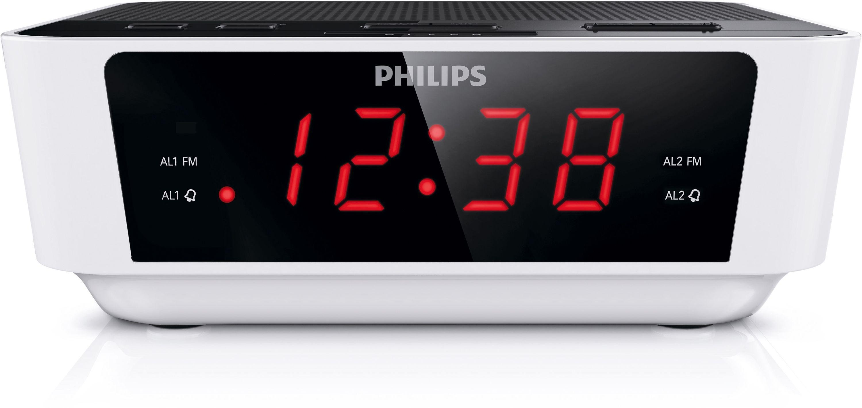 philips aj311505 digital fm alarm clock radio white