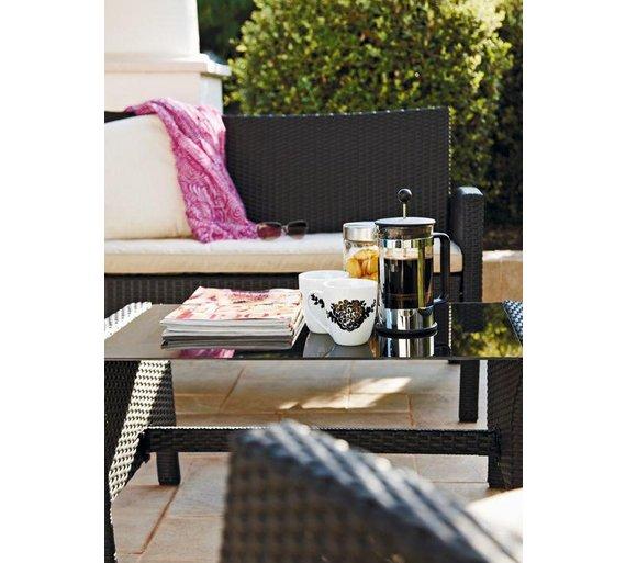 Buy Rattan Effect 4 Seater Garden Patio Furniture Set - Black at Argos.co.uk  - Your Online Shop for Garden table and chair sets, Garden furniture, ...