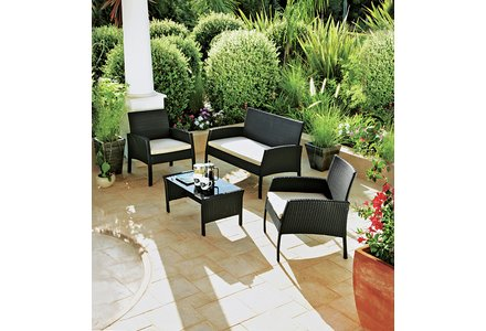 Image of the Rattan Effect 4 Seater Garden Patio Furniture Set in black.