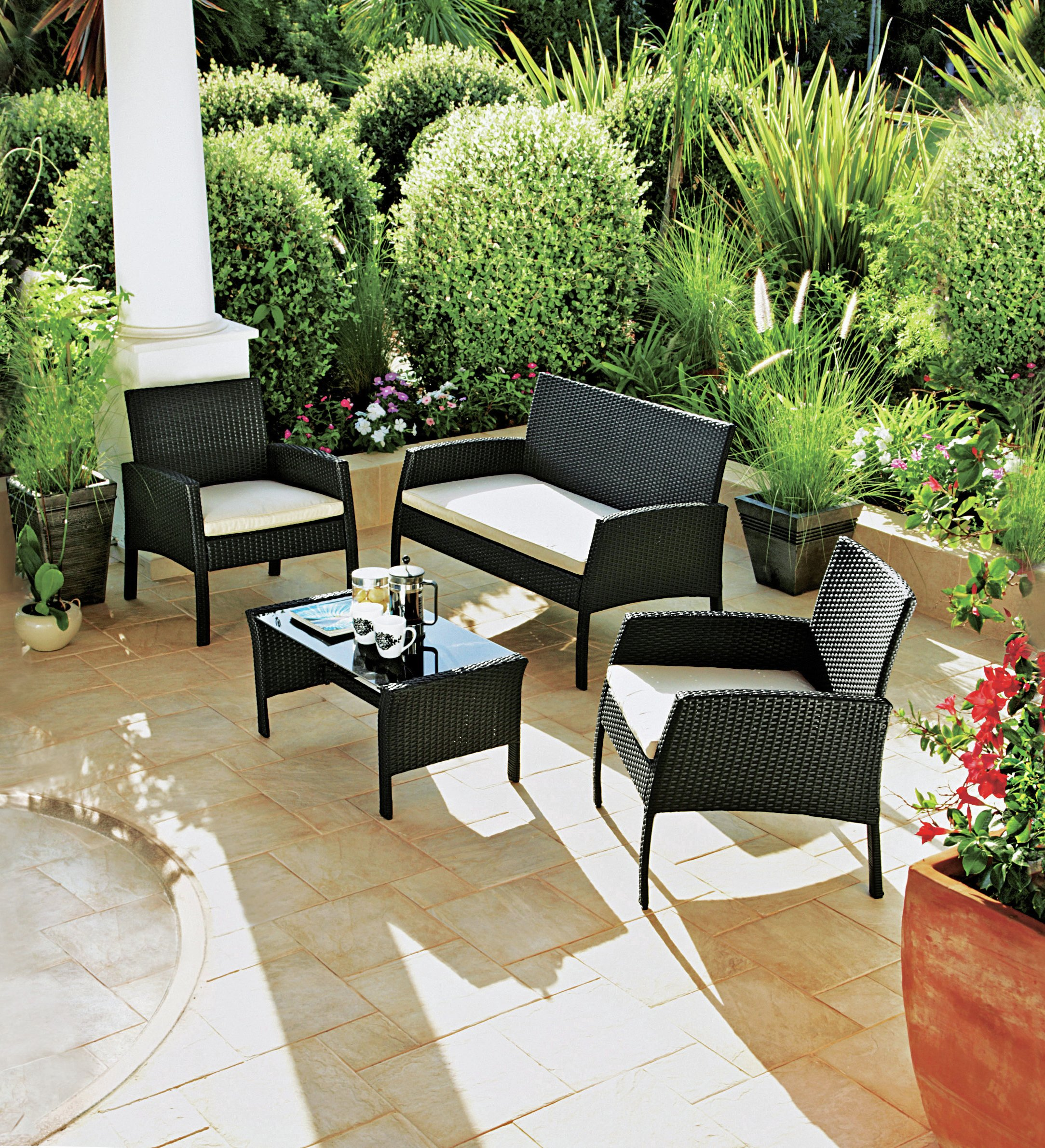 Buy Rattan Effect 4 Seater Garden Patio Furniture Set Black at