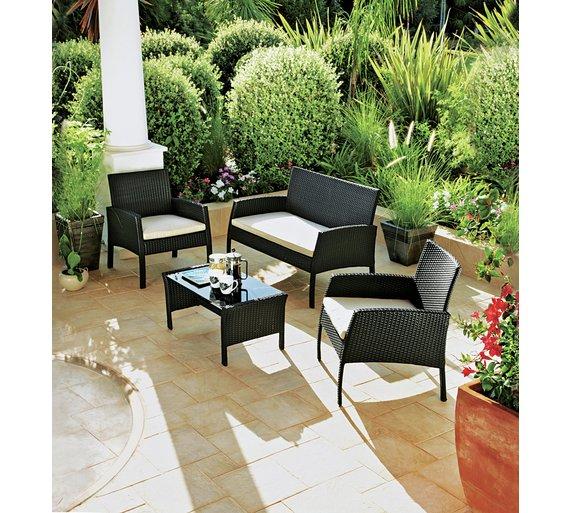 Buy Rattan Effect 4 Seater Garden Patio Furniture Set