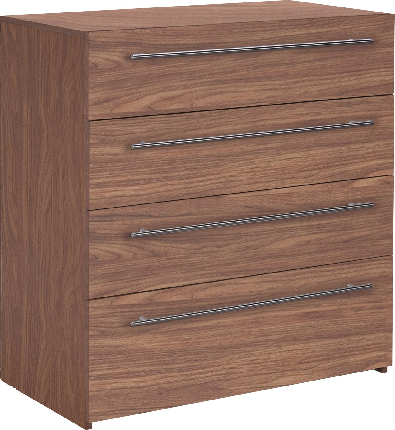 Hygena Atlas 4 Drawer Chest - Walnut Effect