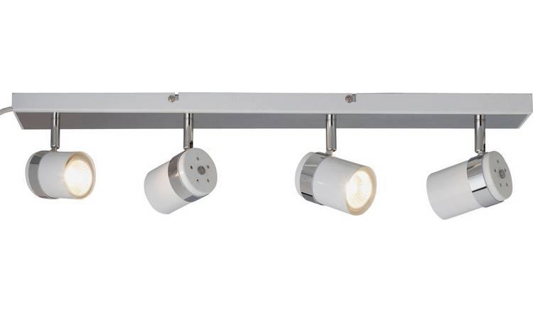 sale retailer 34436 9db00 Buy Argos Home Shiro 4 Spotlight Bar - White & Chrome | Ceiling lights |  Argos