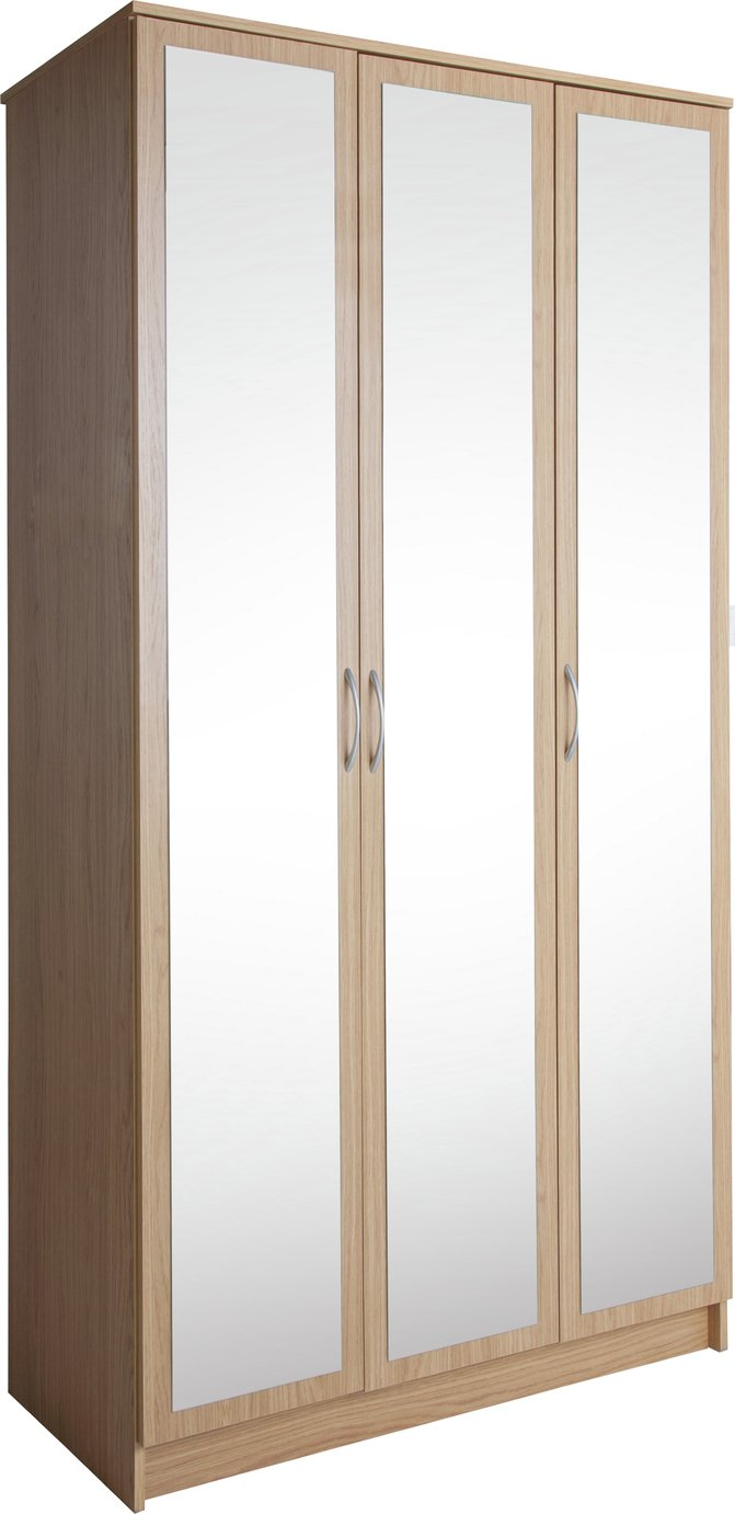 Argos Home Cheval 3 Door Mirrored Wardrobe - Oak Effect