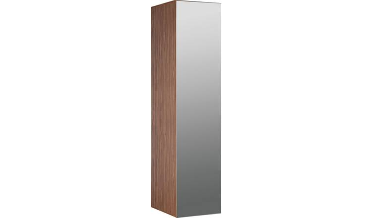 Argos Home Atlas Walnut Effect 1 Door Mirrored Tall Wardrobe