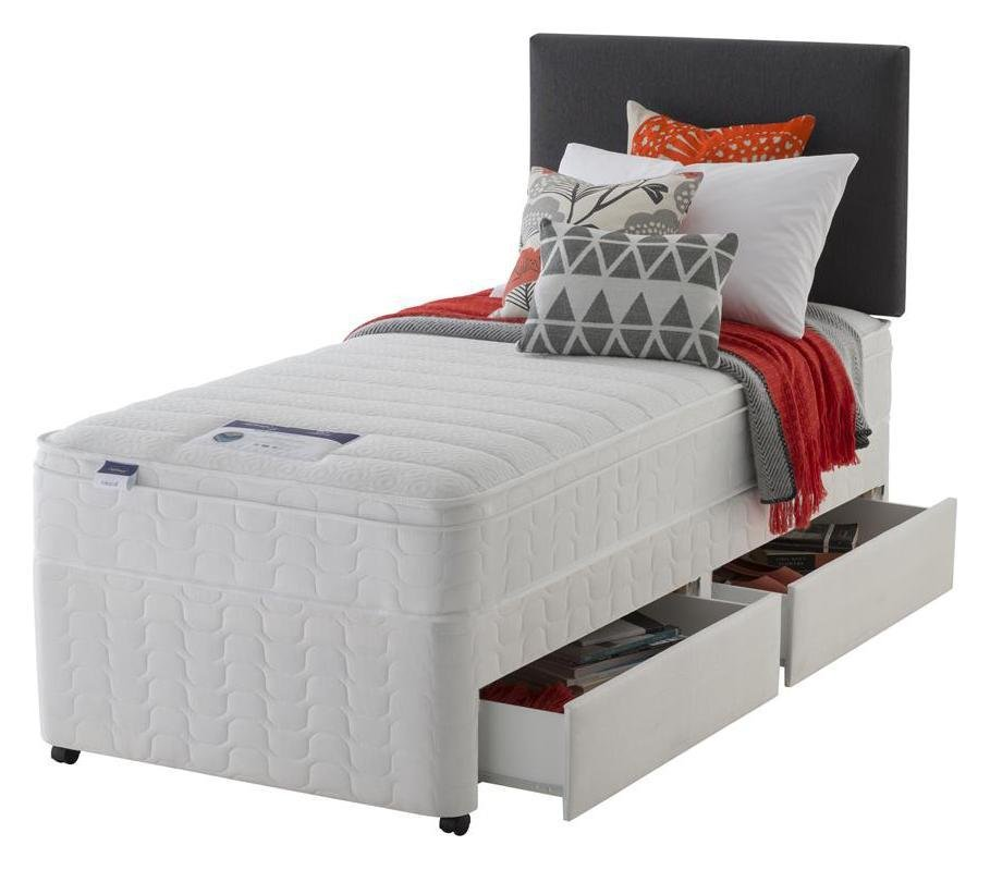 Silentnight - Miracoil Travis Cushiontop Single 2 Drawer - Divan