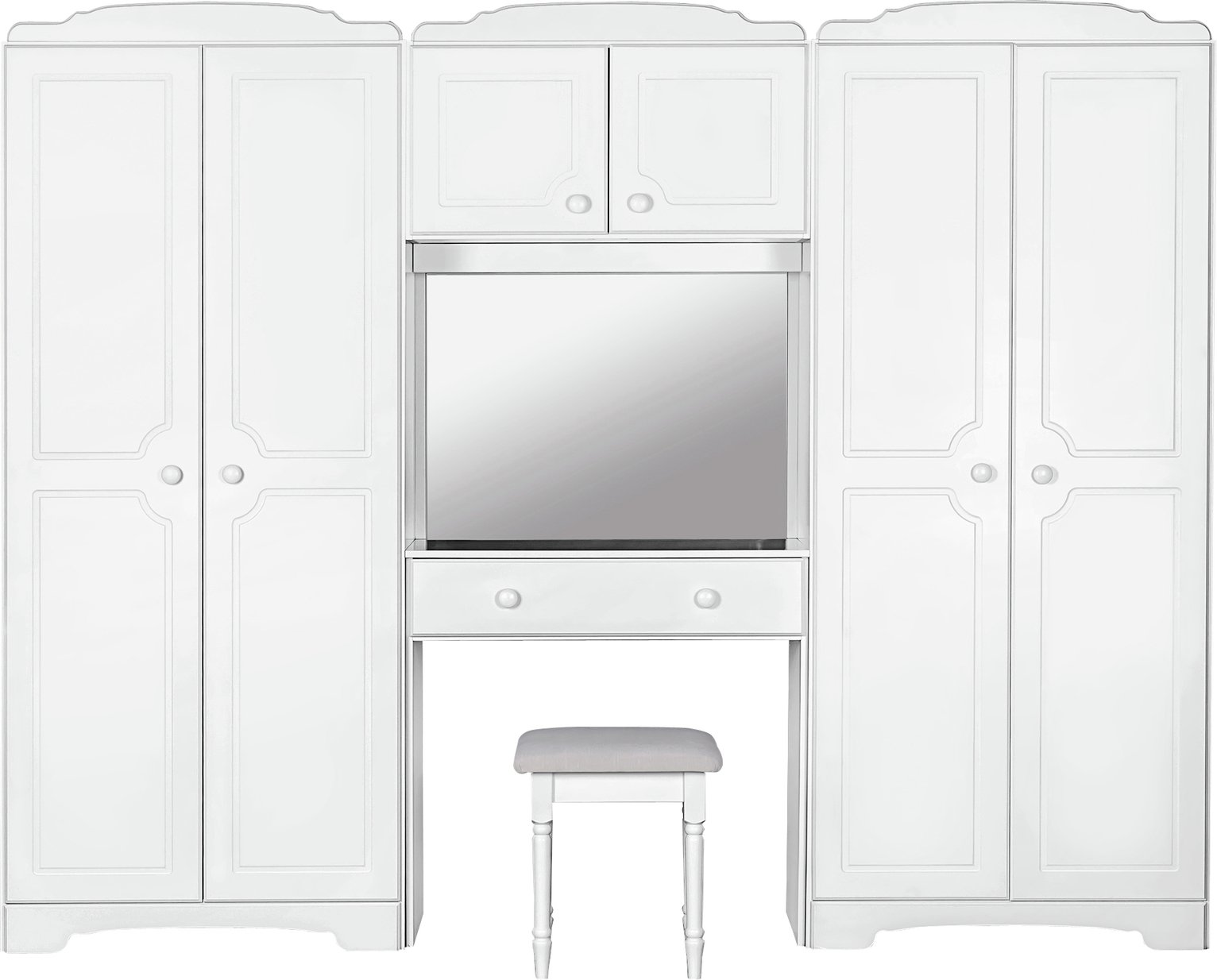 Image of HOME Nordic Wardrobe Fitment, Mirror and Stool - Soft White