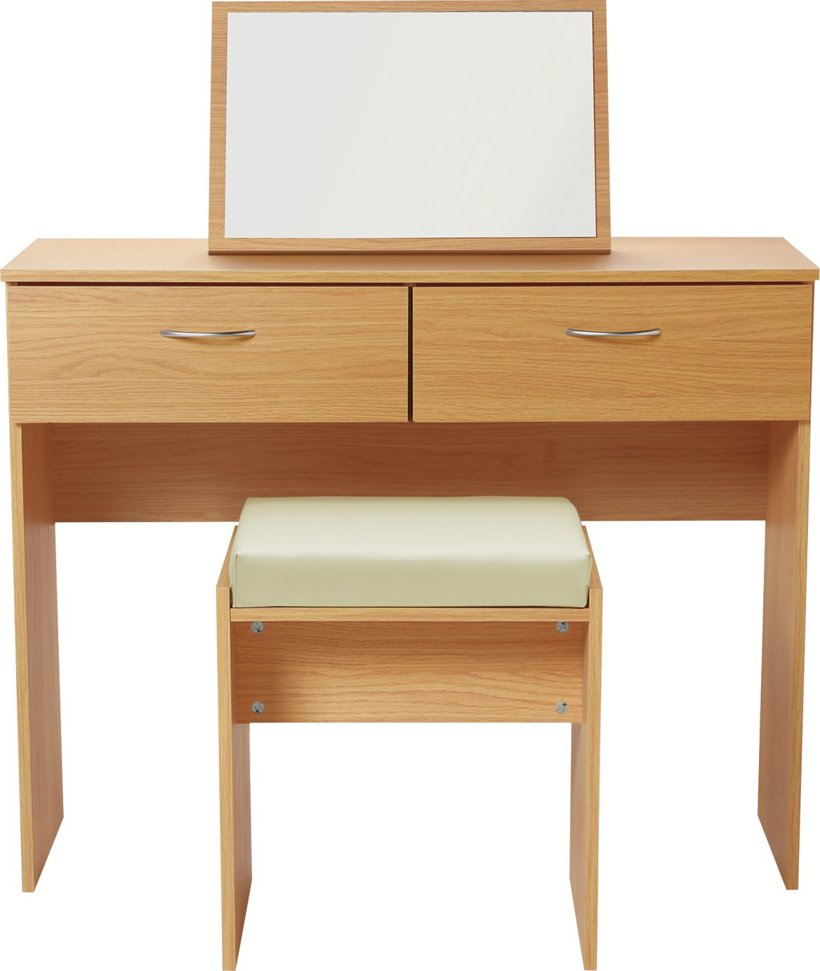 Argos Home Cheval Dressing Table Stool & Mirror - Beech Eff