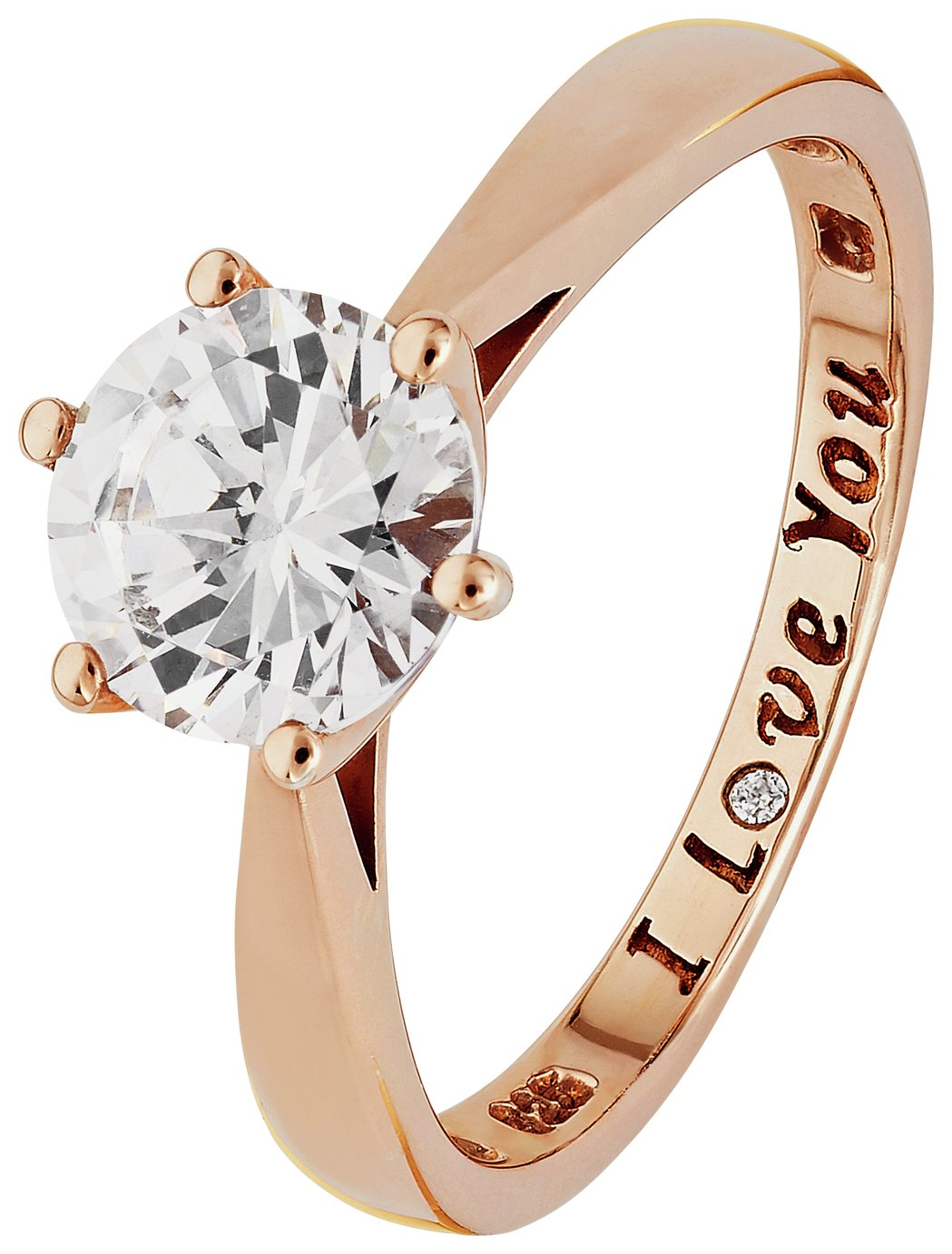 Buy Revere 9ct Rose Gold Plated Silver CZ I Love You Ring at