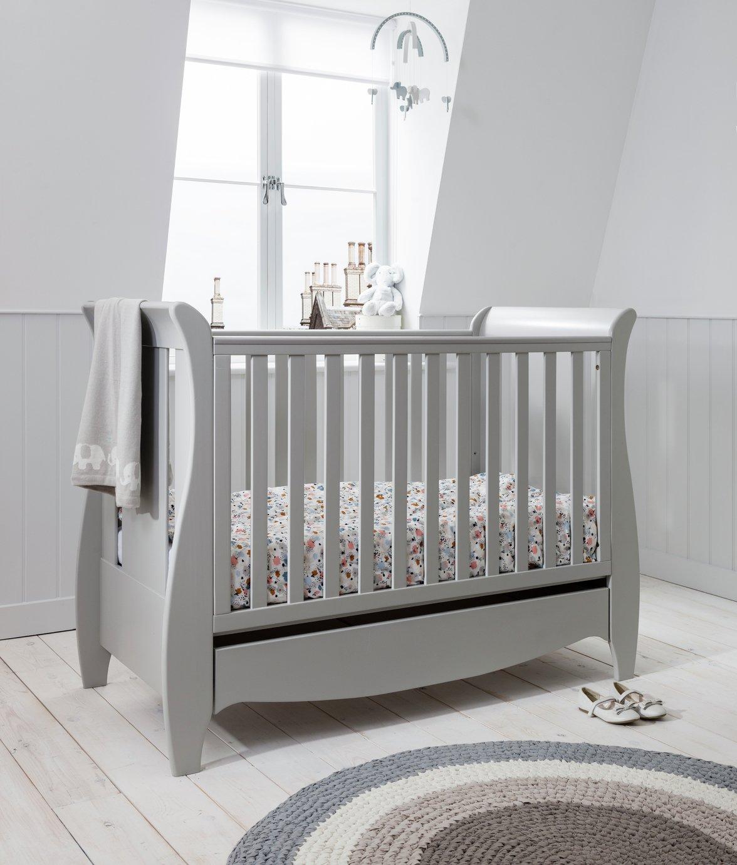 Tutti Bambini Roma Mini Sleigh Cot Bed and Drawer - Grey