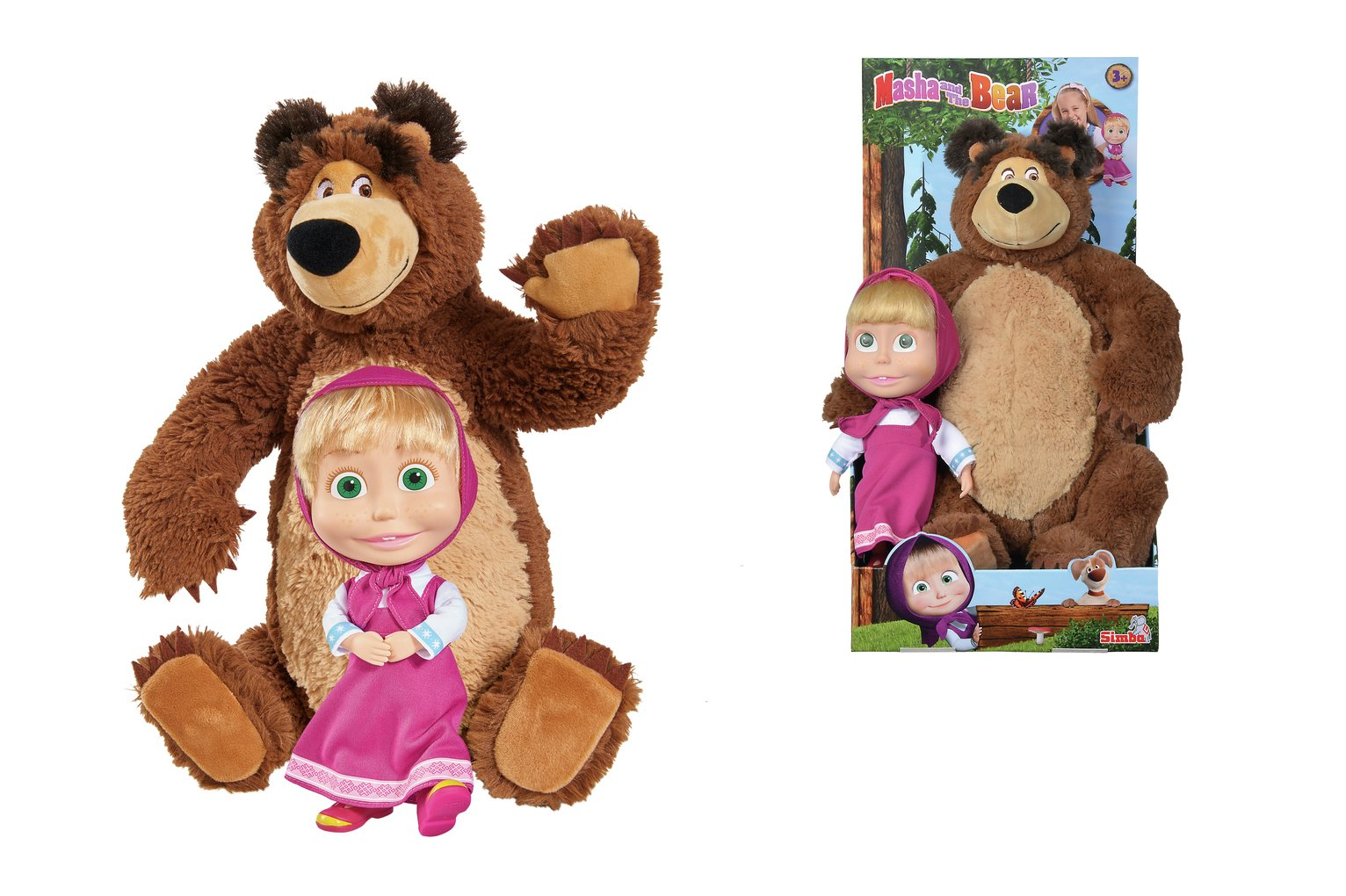 Masha and the Bear Big Bear and Big Doll Soft Toy
