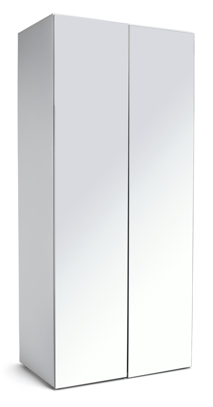 Argos Home Atlas 2 Door Mirrored Tall Wardrobe - White