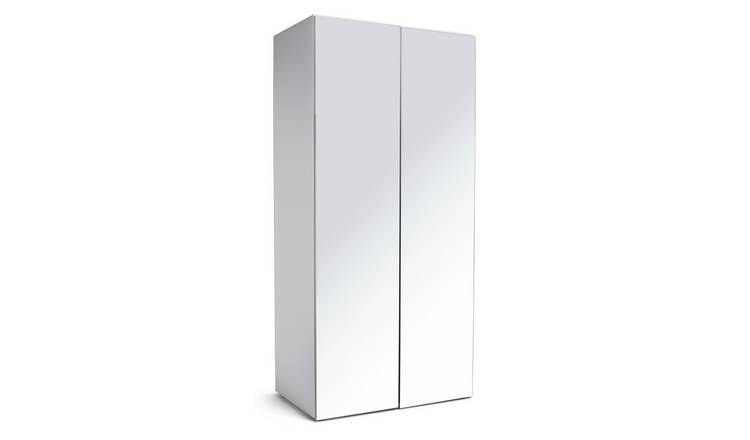 Habitat Atlas 2 Door Mirrored Tall Wardrobe - White