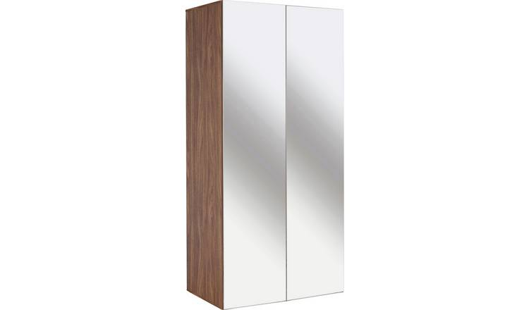Argos Home Atlas Walnut Effect 2 Door Mirrored Tall Wardrobe