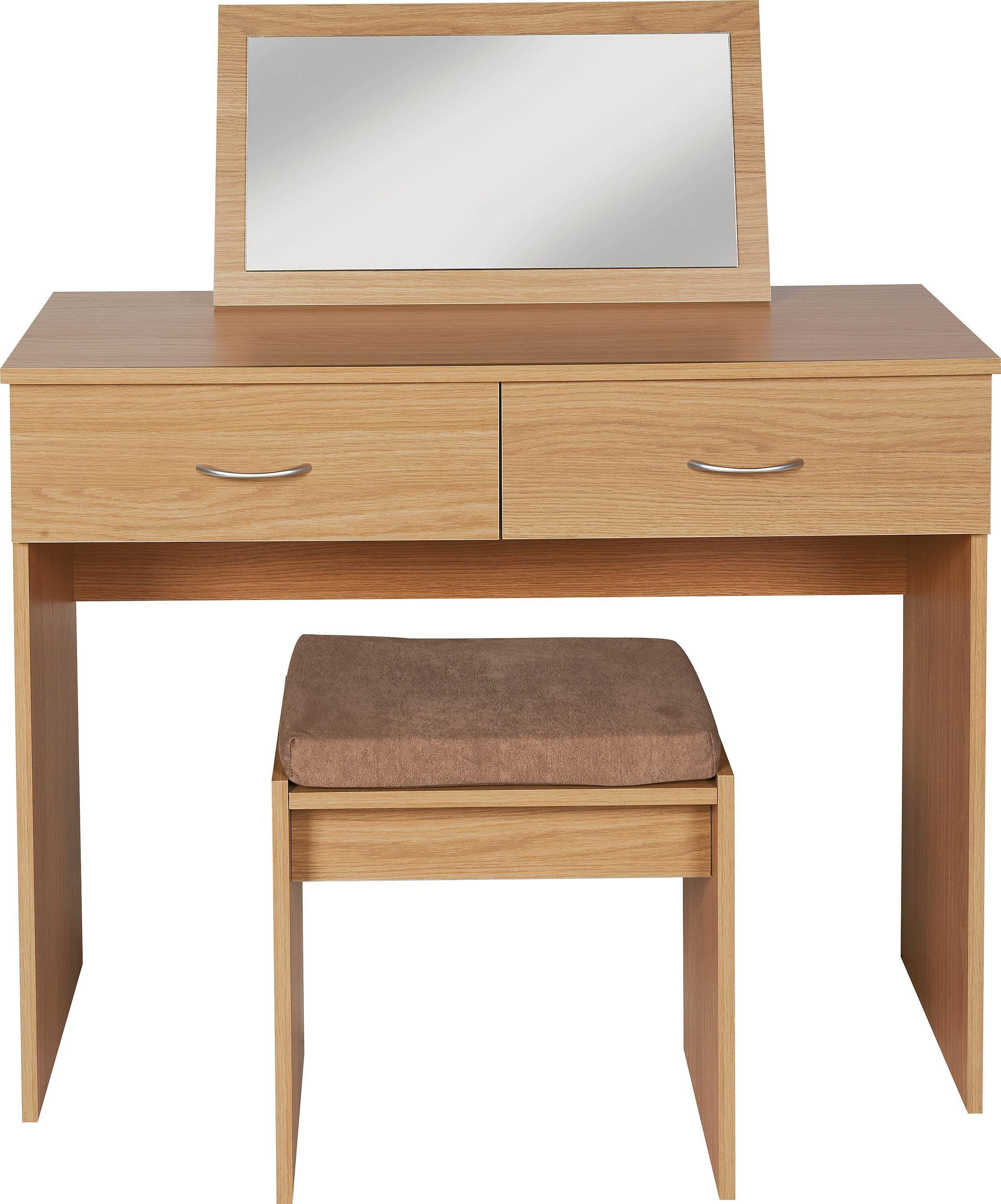 Image of Collection Cheval Dressing Table, Stool & Mirror - Oak Eff