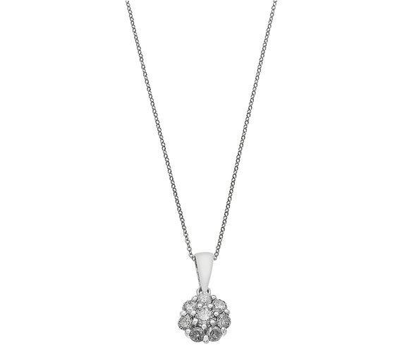 Image of 9 Carat White Gold - 0.50 Carat tw Diamond Cluster Pendant.