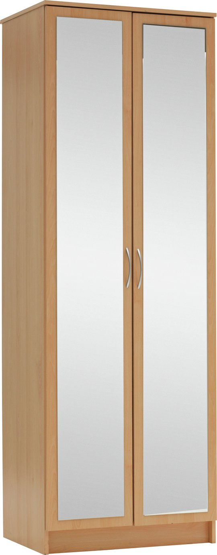 Argos Home Cheval 2 Door Mirrored Wardrobe - Beech Effect