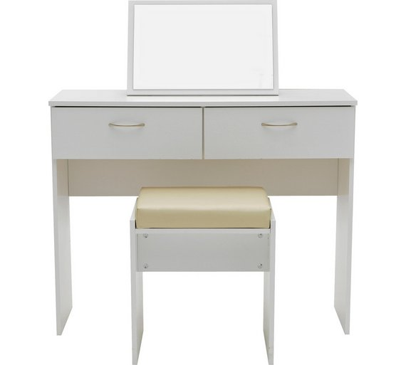 Buy Collection Cheval Dressing Table Stool Mirror White At - White dressing table argos